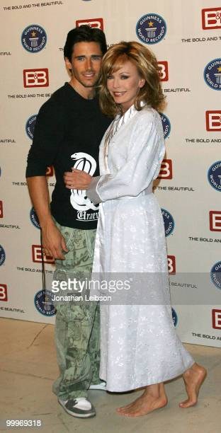 """Brandon Beemer and Lesley-Anne Down attend the Guinness World Record's official validation of """"The Bold & The Beautiful"""" at CBS Studios on May 18,..."""