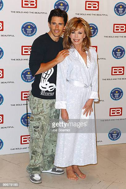 """Brandon Beemer and Lesley-Anne Down attend the Guinness World Record's Official Validation For """"The Bold & The Beautiful""""at CBS Studios on May 18,..."""
