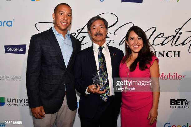 Brandon Belford Executive Director of Rainbow Push Silicon Valley Project Lyle 'Butch' Wing and Zuraya Tapia Hadley appear at IMPACT Strategies and...