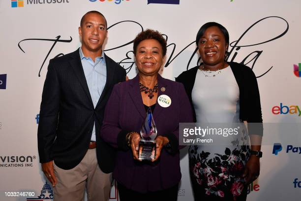 Brandon Belford Rep Barbara Lee and Adelmise Warner appear at IMPACT Strategies and DP Creative Strategies Tech Media day party and brunch at...