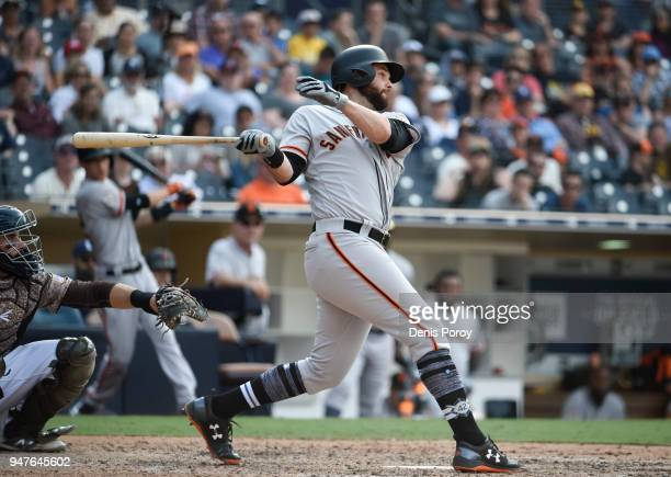 Brandon Belt of the San Francisco Giants plays during a baseball game against the San Diego Padres at PETCO Park on April 15 2018 in San Diego...