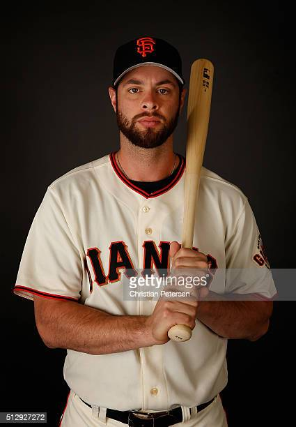 Brandon Belt of the San Francisco Giants poses for a portrait during spring training photo day at Scottsdale Stadium on February 28 2016 in...