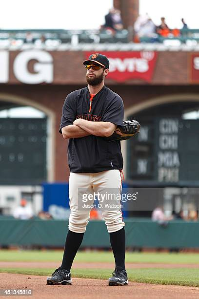 Brandon Belt of the San Francisco Giants stands on the field before the game against the San Diego Padres at ATT Park on June 25 2014 in San...