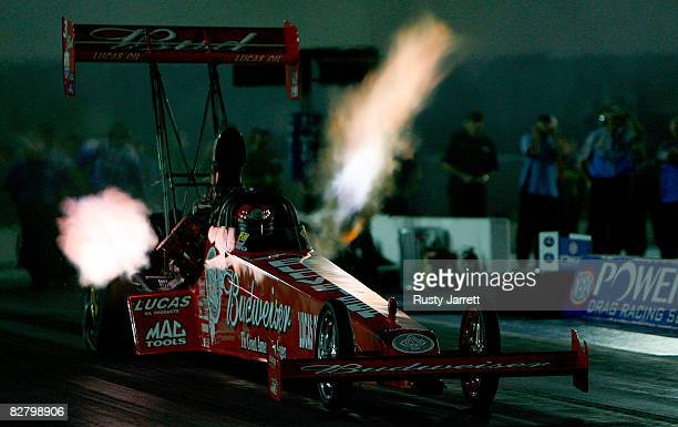 Brandon Bernstein driver of the Budweiser top fuel dragster leaves the line during second round qualifying for the NHRA Carolinas Nationals at the...