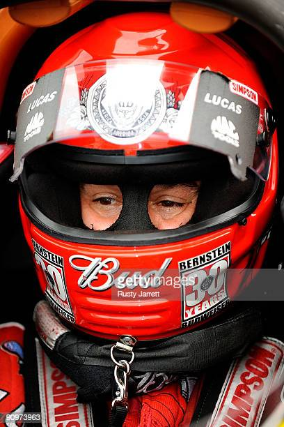 Brandon Bernstein driver of the Budweiser top fuel dragster prepares to drive during qualifying for the NHRA Carolinas Nationals on September 19 2009...