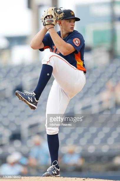 Brandon Bielak of the Houston Astros delivers a pitch against the Miami Marlins in the first inning of a Grapefruit League spring training game at...