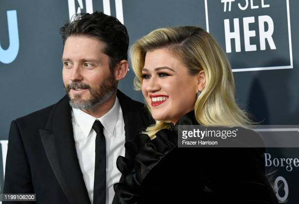 Brandon Blackstock and Kelly Clarkson attend the 25th Annual Critics' Choice Awards at Barker Hangar on January 12 2020 in Santa Monica California