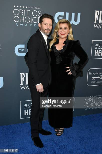 Brandon Blackstock and Kelly Clarkson attend the 25th Annual Critics' Choice Awards held at Barker Hangar on January 12 2020 in Santa Monica...