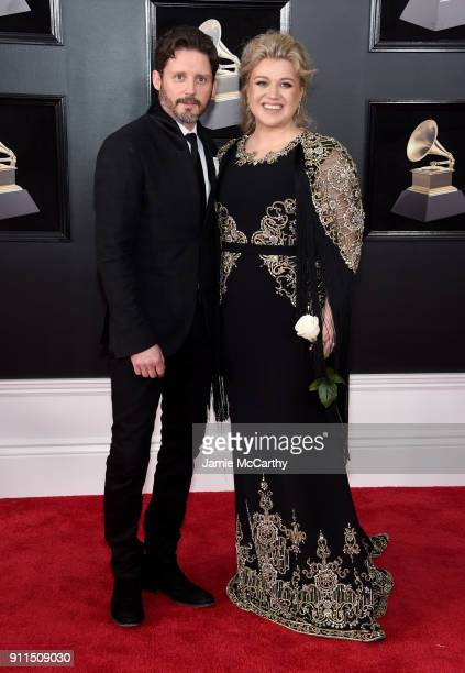 Brandon Blackstock and recording artist Kelly Clarkson attend the 60th Annual GRAMMY Awards at Madison Square Garden on January 28 2018 in New York...