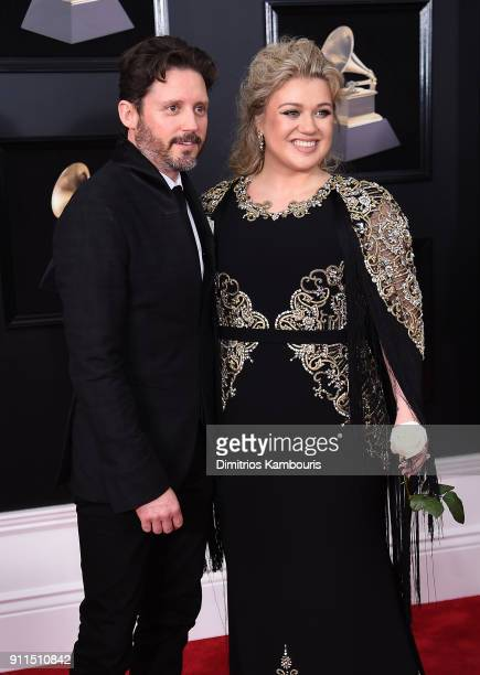 Brandon Blackstock and recording artist Kelly Clarkson attends the 60th Annual GRAMMY Awards at Madison Square Garden on January 28 2018 in New York...