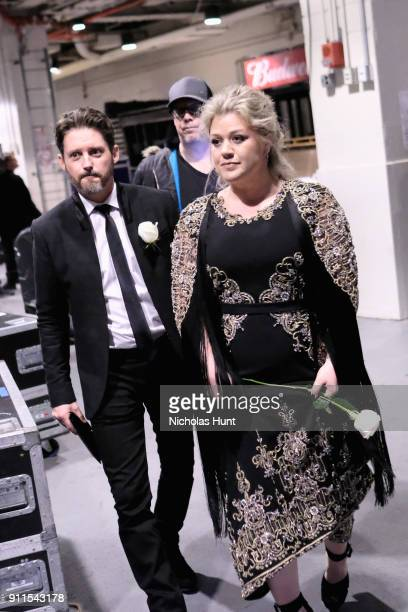 Brandon Blackstock and recording artist Kelly Clarkson pose backstage at the 60th Annual GRAMMY Awards at Madison Square Garden on January 28 2018 in...