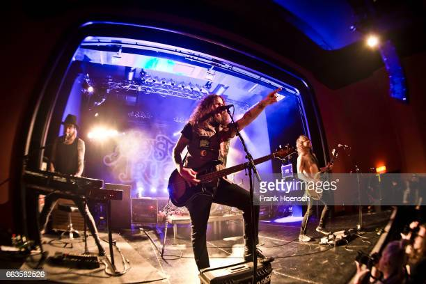 Brandon Bliss Jon Harvey and Jeremy Widerman of the Canadian band Monster Truck perform live during a concert at the Columbia Theater on April 1 2017...