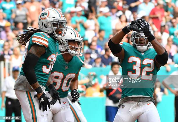 Brandon Bolden Danny Amendola and Kenyan Drake of the Miami Dolphins celebrate a touchdown against the New England Patriots at Hard Rock Stadium on...