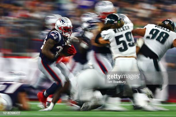 Brandon Bolden of the New England Patriots carries the ball in the second half against the Philadelphia Eagles during the preseason game at Gillette...