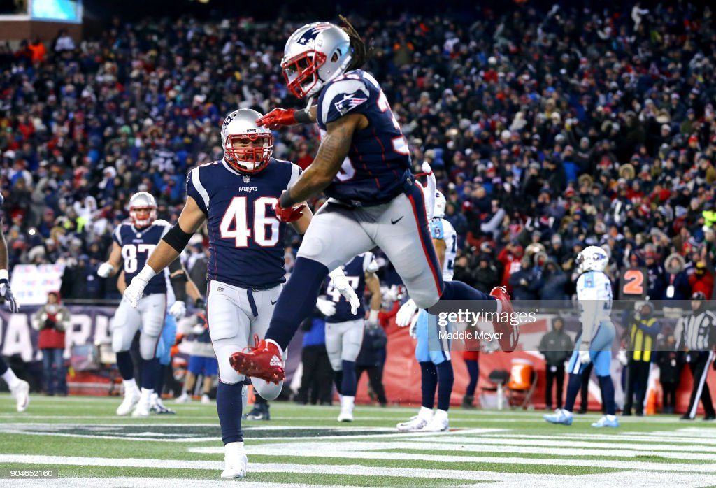 Brandon Bolden #38 of the New England Patriots reacts after scoring a touchdown in the third quarter of the AFC Divisional Playoff game against the Tennessee Titans at Gillette Stadium on January 13, 2018 in Foxborough, Massachusetts.