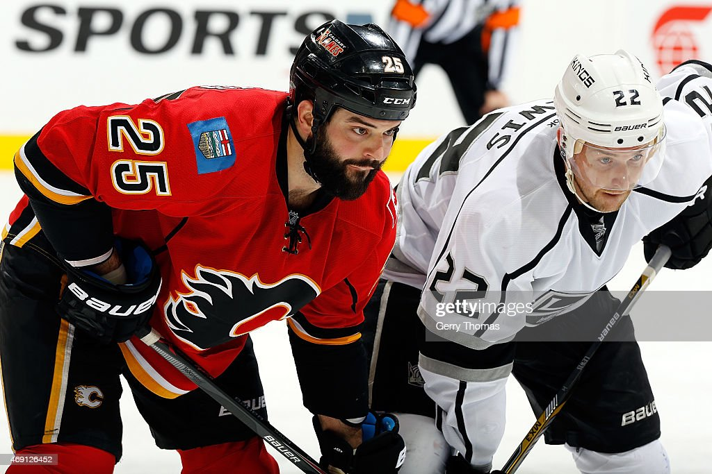 Brandon Bollig #25 of the Calgary Flames skates against Trevor Lewis #22 of the Los Angeles Kings at Scotiabank Saddledome on April 9, 2015 in Calgary, Alberta, Canada.