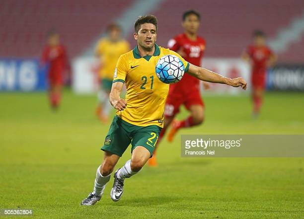 Brandon Borrello of Australia runs with the ball during the AFC U23 Championship Group D match between Vietnam and Australia at Grand Hamad Stadium...