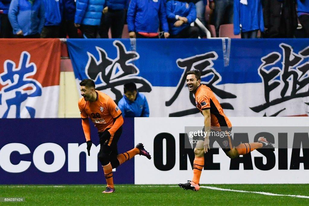 Brandon Borrello #28 of Brisbane Roar celebrates after scoring his team's first goal during the AFC Champions League 2017 play-off match between Shanghai Shenhua and Brisbane Roar at Hongkou Stadium on February 8, 2017 in Shanghai, China.