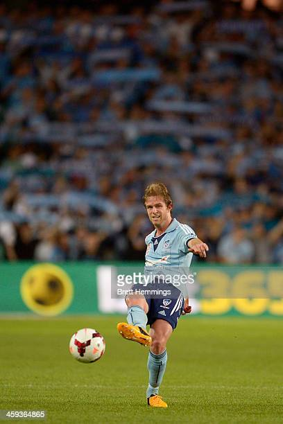 Brandon Borrello of Sydney passes the ball during the round 12 ALeague match between Sydney FC and Brisbane Roar at Allianz Stadium on December 26...