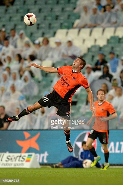 Brandon Borrello of the Road jumps for a high ball during the round 12 ALeague match between Sydney FC and Brisbane Roar at Allianz Stadium on...