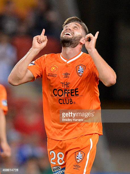 Brandon Borrello of the Roar celebrates a goal during the round five ALeague match between the Brisbane Roar and Melbourne City at Suncorp Stadium on...