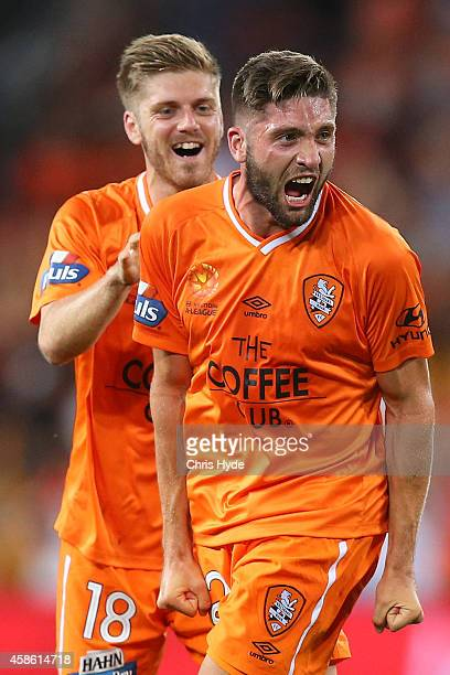 Brandon Borrello of the Roar celebrates after kicking a goal during the round five ALeague match between the Brisbane Roar and Melbourne City at...
