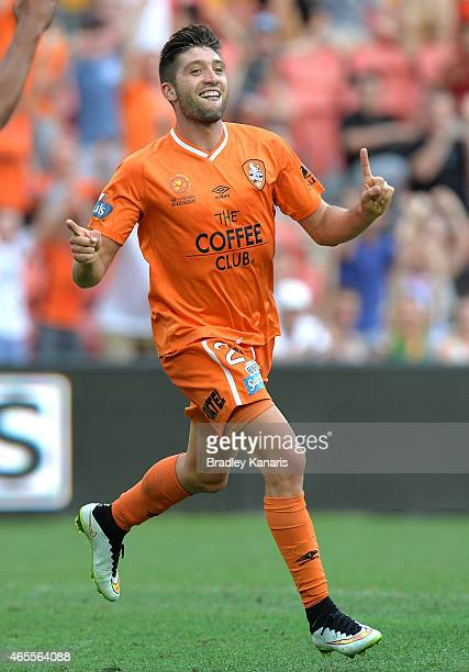Brandon Borrello of the Roar celebrates after scoring a goal during the round 20 ALeague match between the Brisbane Roar and the Western Sydney...