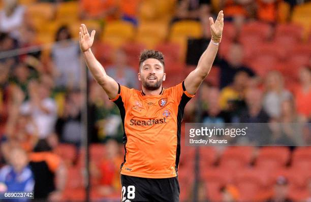 Brandon Borrello of the Roar celebrates scoring a goal during the round 27 ALeague match between the Brisbane Roar and the Wellington Phoenix at...