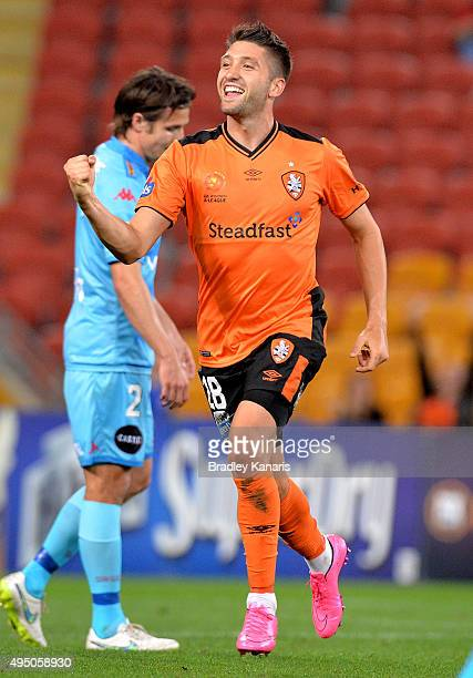 Brandon Borrello of the Roar celebrates scoring a goal during the round four ALeague match between Brisbane Roar and Adelaide United at Suncorp...