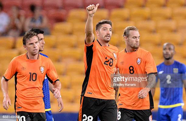 Brandon Borrello of the Roar celebrates scoring a goal during the Asian Cup Champions League Qualifying Match between Brisbane Roar and Global FC at...
