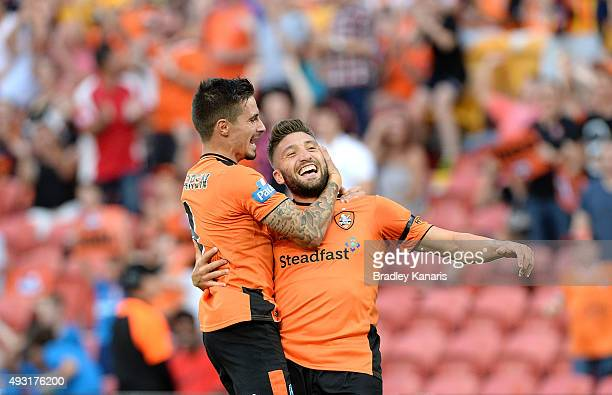 Brandon Borrello of the Roar celebrates scoring a goal with team mate Jamie Maclaren during the round two ALeague match between the Brisbane Roar and...