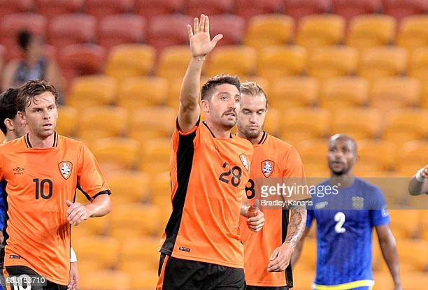 Brandon Borrello of the Roar celebrates scoring his first of four goals for the game during the Asian Cup Champions League Qualifying Match between...