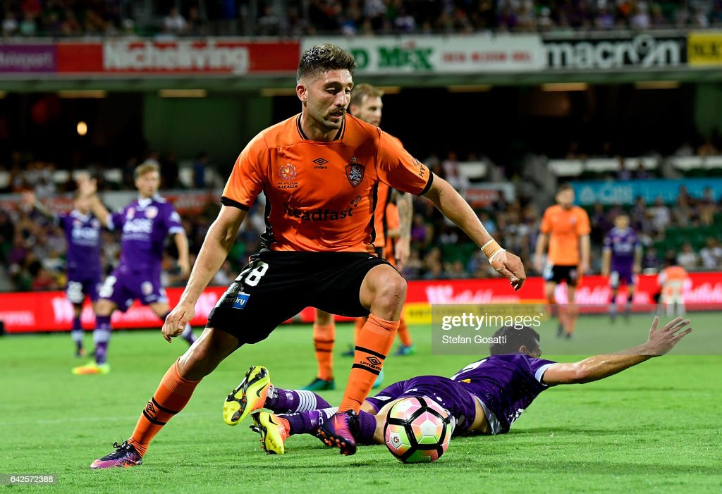 Brandon Borrello of the Roar controls the ball during the round 20 A-League match between Perth Glory and Brisbane Roar at nib Stadium on February 18, 2017 in Perth, Australia.