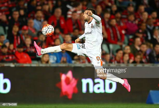 Brandon Borrello of the Roar controls the ball during the round one ALeague match between the Western Sydney Wanderers and the Brisbane Roar at...