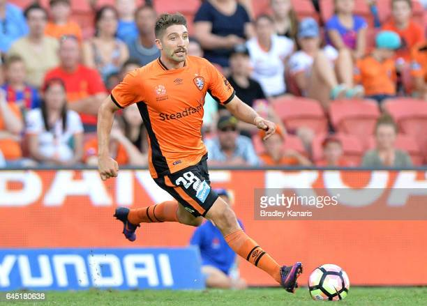Brandon Borrello of the Roar in action during the round 21 ALeague match between the Brisbane Roar and the Wellington Phoenix at Suncorp Stadium on...