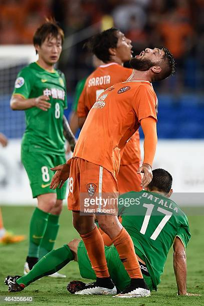 Brandon Borrello of the Roar reacts during the AFC Asian Champions League match between Brisbane Roar and Beijing Guoan at Cbus Super Stadium on...