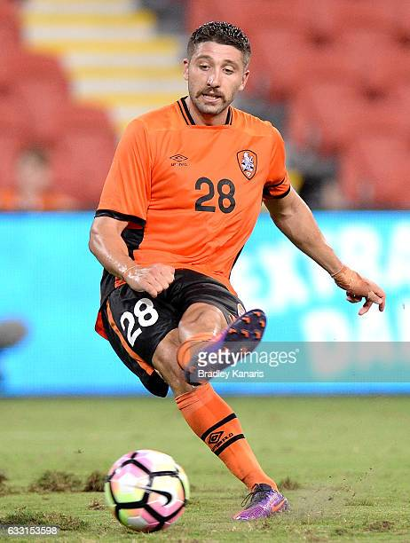Brandon Borrello of the Roar scores his fourth goal of the game during the Asian Cup Champions League Qualifying Match between Brisbane Roar and...