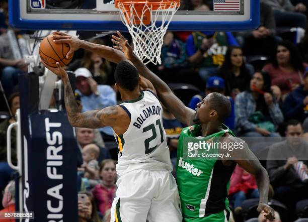 Brandon Bowman of the Maccabi Haifa tries to block the second half shot by Joel Bolomboy of the Utah Jazz during the 11778 win by the Jazz in...