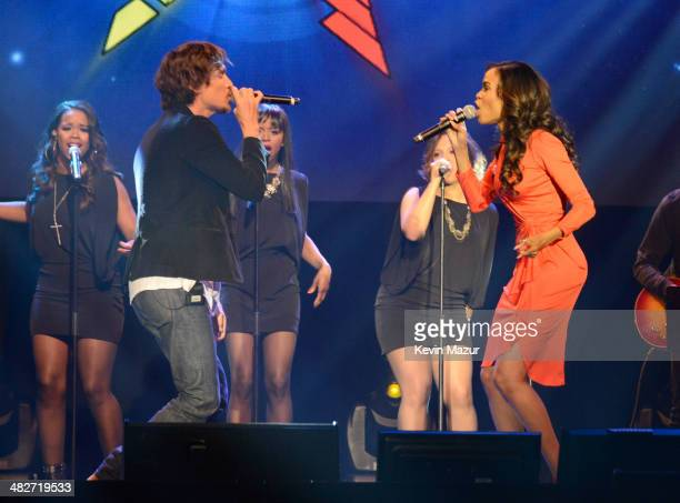 Brandon Boyd and Michelle Williams perform during the press conference for Jesus Christ Superstar Arena Rock Spectacular at Hammerstein Ballroom on...