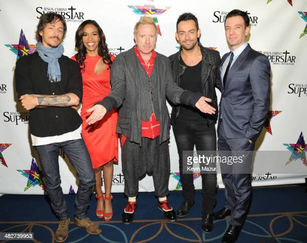 Brandon Boyd Michelle Williams Johnny Rotten Ben Forster and JC Chasez pose backstage after the press conference for Jesus Christ Superstar Arena...