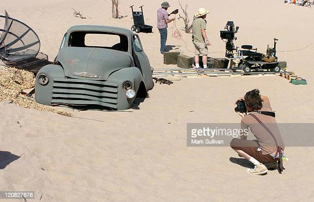 Brandon Boyd of Incubus during Incubus on Location for 'Make a Move' Music Video May 13 2005 at Dumont Dunes in Baker California United States