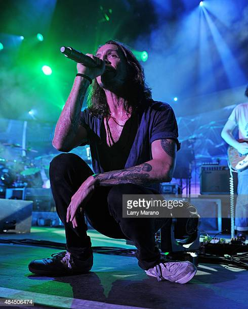 Brandon Boyd of Incubus performs at The Perfect Vodka Amphitheater on August 14 2015 in West Palm Beach Florida
