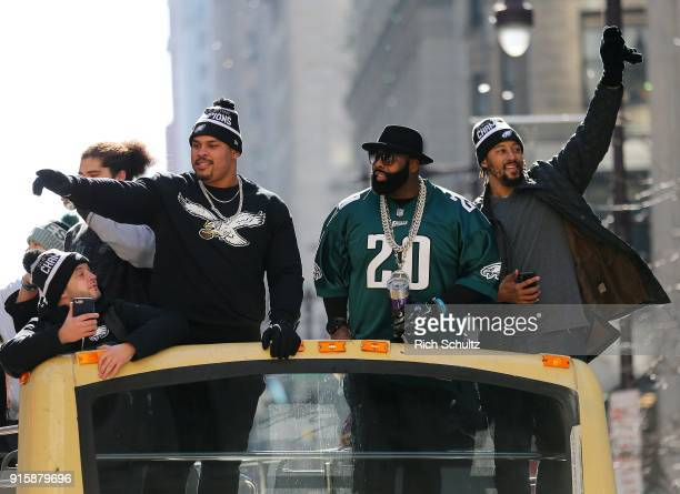 Brandon Brooks Jason Peters and Will Beatty celebrate during the Super Bowl LII parade on February 8 2018 in Philadelphia Pennsylvania