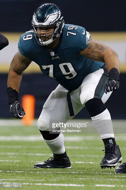 Brandon Brooks of the Philadelphia Eagles guards during a game against the New Orleans Saints at the MercedesBenz Superdome on November 18 2018 in...