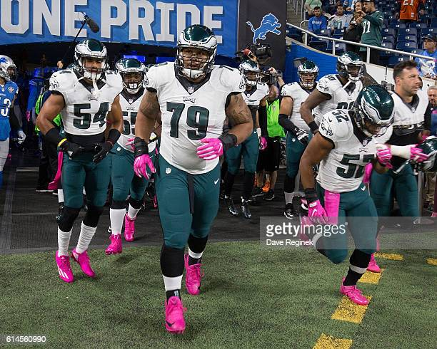 Brandon Brooks of the Philadelphia Eagles heads out to the field prior to an NFL game against the Detroit Lions at Ford Field on October 9 2016 in...