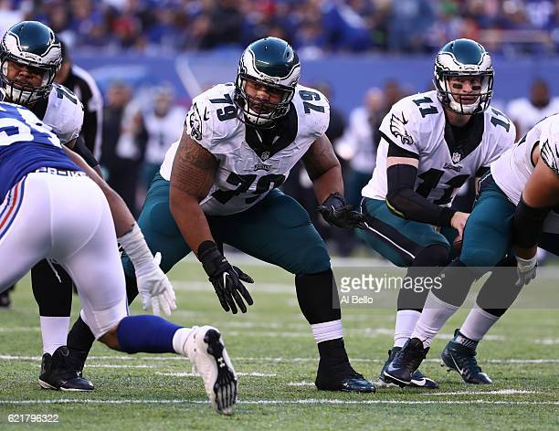Brandon Brooks of the Philadelphia Eagles in action against the New York Giants during their game at MetLife Stadium on November 6 2016 in East...