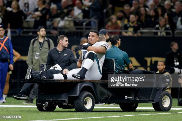 Brandon Brooks of the Philadelphia Eagles is carted off the field after sustaining a second quarter injury against the New Orleans Saints in the NFC...