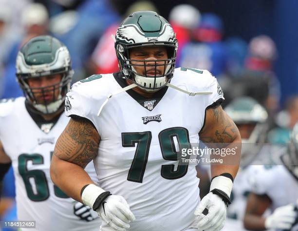 Brandon Brooks of the Philadelphia Eagles makes his way to the field before a game against the Buffalo Bills at New Era Field on October 27 2019 in...