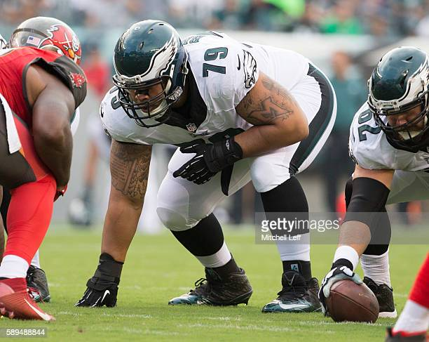 Brandon Brooks of the Philadelphia Eagles plays against the Tampa Bay Buccaneers at Lincoln Financial Field on August 11 2016 in Philadelphia...