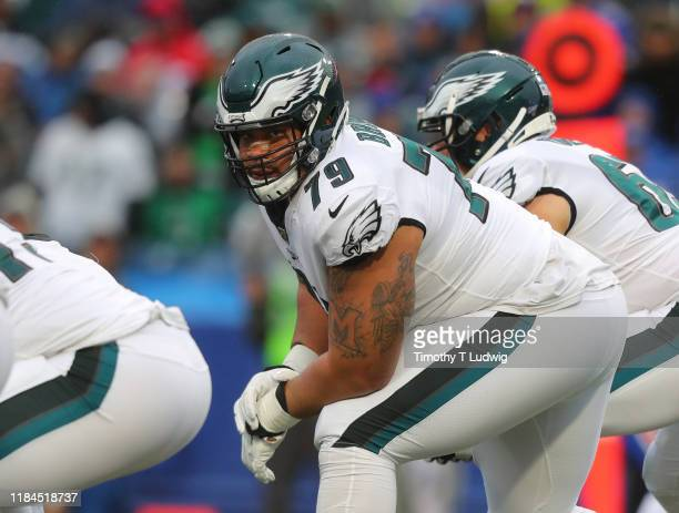 Brandon Brooks of the Philadelphia Eagles waits for the snap against the Buffalo Bills at New Era Field on October 27 2019 in Orchard Park New York...